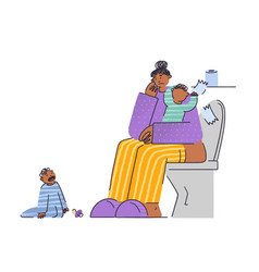 frustrated and stressed woman with two kids vector image