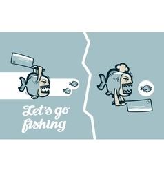 funny piranha fish vector image