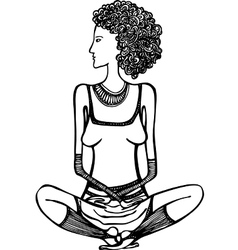 girl sitting in the lotus position vector image