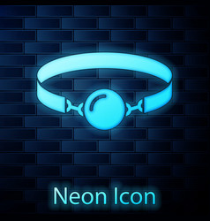 Glowing neon silicone ball gag with a leather belt vector