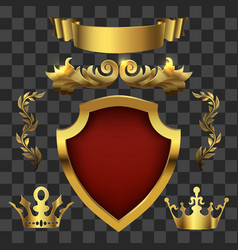 golden heraldic elements kings crowns vector image vector image