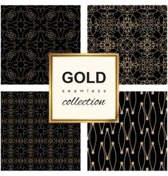 Golden line pattern set vector image