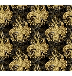 golden seamless floral background vector image