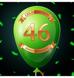 Green balloon with golden inscription forty six vector