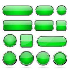 Green glass buttons with metal frame collection vector