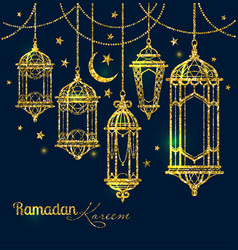 greeting card ramadan kareem design with lamps and vector image