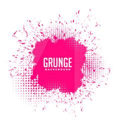 Grunge pink ink splatter halftone background vector
