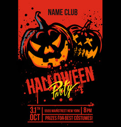 halloween pumpkins on red vector image