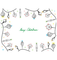 hand drawn of lovely christmas lights frame vector image
