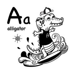 Hand drawnalphabet letter a-alligator vector