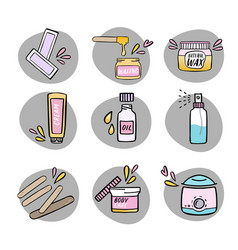 Handdrawn hair removal icons set vector