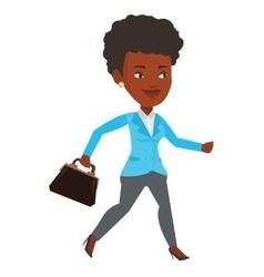 Happy businesswoman running vector