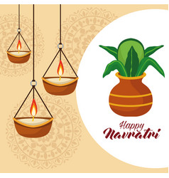 Happy navratri celebration with drums and candles vector