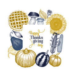 happy thanksgiving day design template hand drawn vector image
