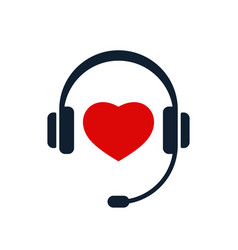 headphones and heart icon vector image