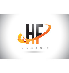 Hf h f letter logo with fire flames design and vector
