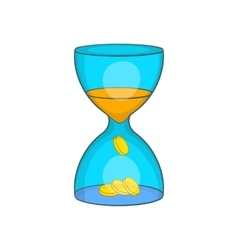 Hourglass time is money icon cartoon style vector