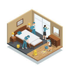 house cleaning isometric composition vector image