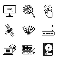 Interactive resources icons set simple style vector