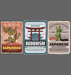 japanese culture and traditions food and temples vector image