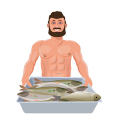 Man with tray fish vector