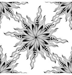 Mandala Black and white round ornament vector image