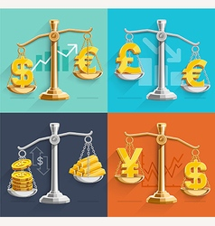 Money sign icons and gold bars on the scales vector