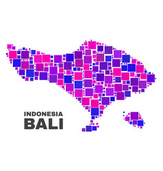 Mosaic bali map of square items vector