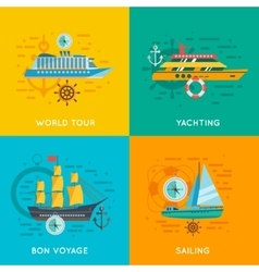 Nautical concept 4 flat icons square vector