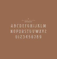 Original serif font thin line face vector