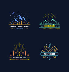 outdoor activities logo set vector image