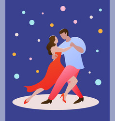 pair dancing people on a dark blue background vector image