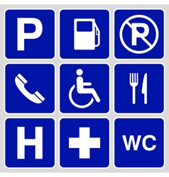 parking symbols and signs collection vector image vector image