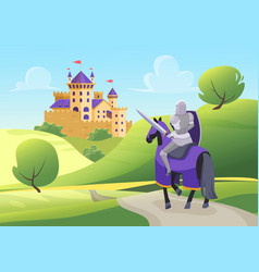 prince knight rides horse to medieval castle vector image
