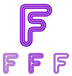 Purple line letter f logo design set vector image