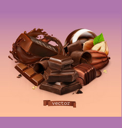 Realistic chocolate chocolate bar splash candy vector