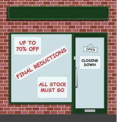 Retail shop closing down vector