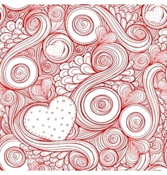 Romantic seamless pattern with doodle and hearts vector image