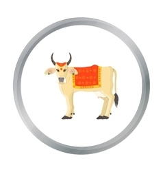 Sacred cow icon in cartoon style isolated on white vector