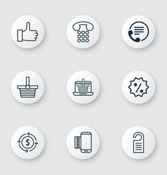 set of 9 ecommerce icons includes mobile service vector image