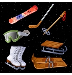 Set of accessories for winter sports seven items vector image