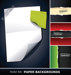 set of paper backgrounds vector image