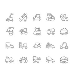 set simple icons agricultural machinery vector image
