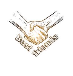 Sketch of handshake friendship day design vector