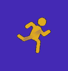Sprinter icon man run silhouette in hatching style vector