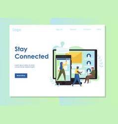 Stay connected website landing page design vector