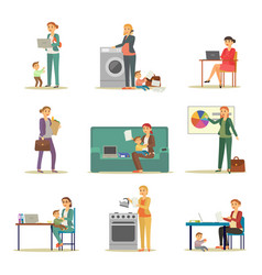 successful businesswoman and excellent mother set vector image