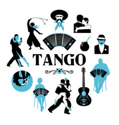 Symbolic silhouettes around the world of tango vector