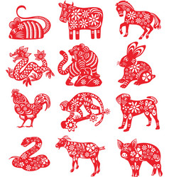 The twelve chinese zodiac paper cut vector