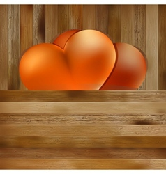 Two hearts on brown wooden background EPS8 vector image